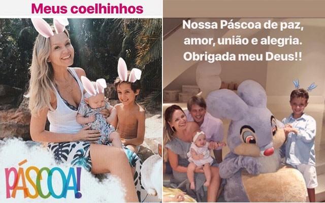 A apresentadora Eliana e família no domingo de Páscoa (Foto: Reprodução / Instagram)