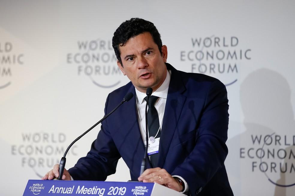 O ministro da Justiça e Segurança Pública, Sérgio Moro, durante evento em Davos, na Suíça — Foto: Alan Santos/Presidência da República