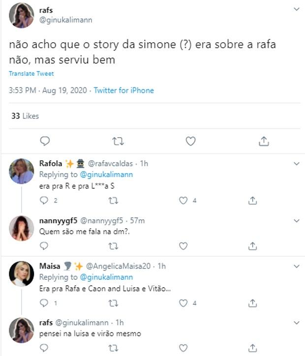 Tweets de internautas sobre vídeo de Simone (Foto: Reprodução/Instagram)