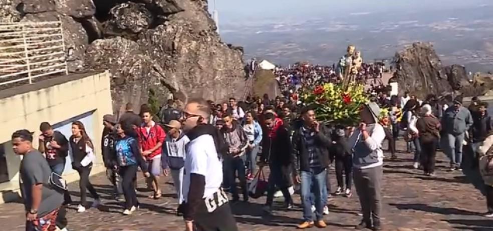 Romaria em Caeté atraía milhares de fiéis. — Foto: TV Globo / Imagens de arquivo