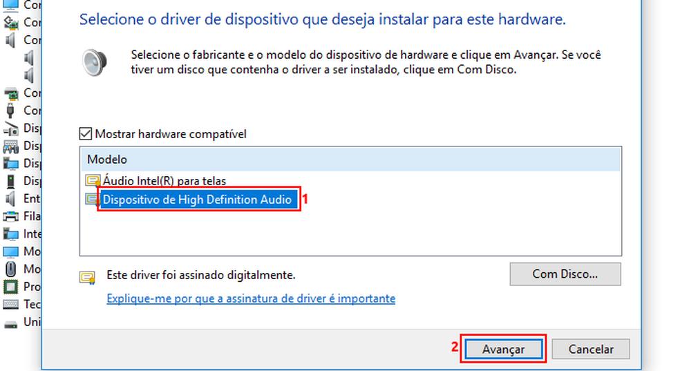 "Instalando o driver ""Dispositivo de High Definition Audio"" — Foto: Edivaldo Brito/TechTudo"