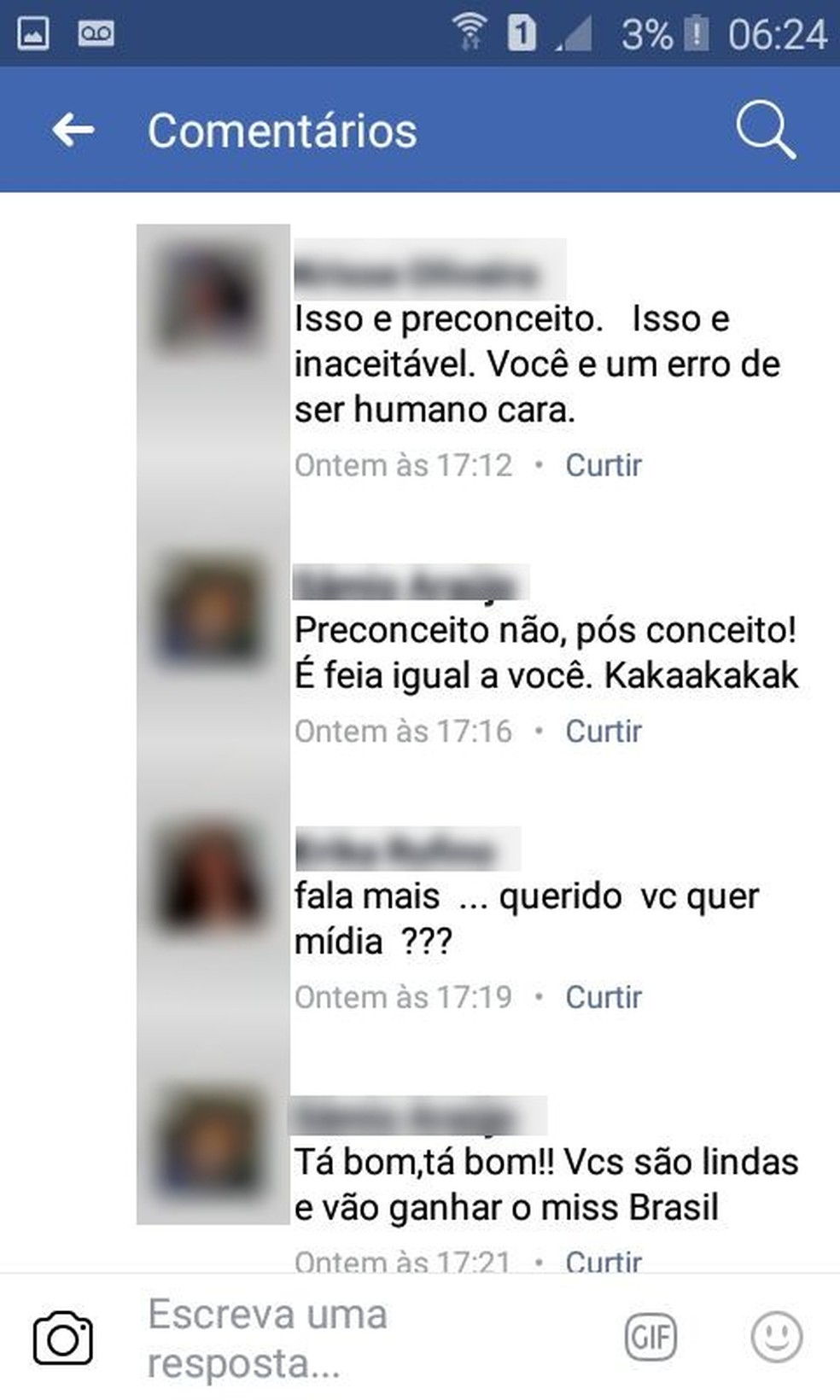 Internautas chegaram a advertir homem sobre os comentários  (Foto: Reprodução/Facebook)