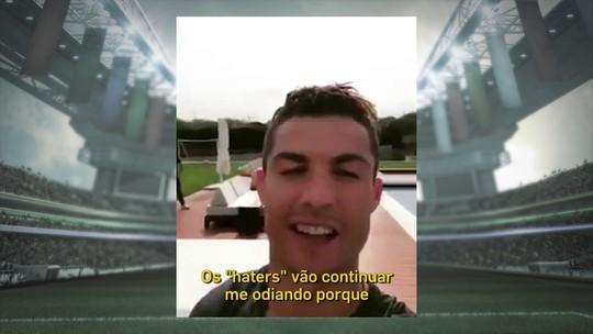 """CR7 alcança 100 milhões de fãs em rede social e manda recado a """"haters"""""""