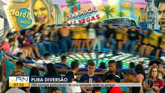 Crianças se divertem no parque em ação da Inter TV