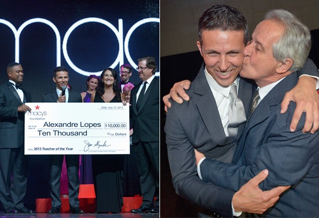 Alex foi eleito omelhor professor da Flórida na última quinta-feira (12); à direita, ele recebe um beijo de seu pai, Enir Lopes (Foto: Reprodução/Macys's)