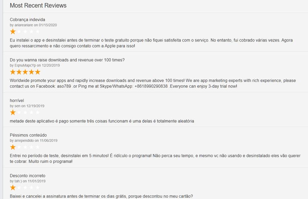 Avaliações deixadas por usuários em um dos aplicativos denunciados que desapareceram da App Store — Foto: Reprodução/Sensor Tower