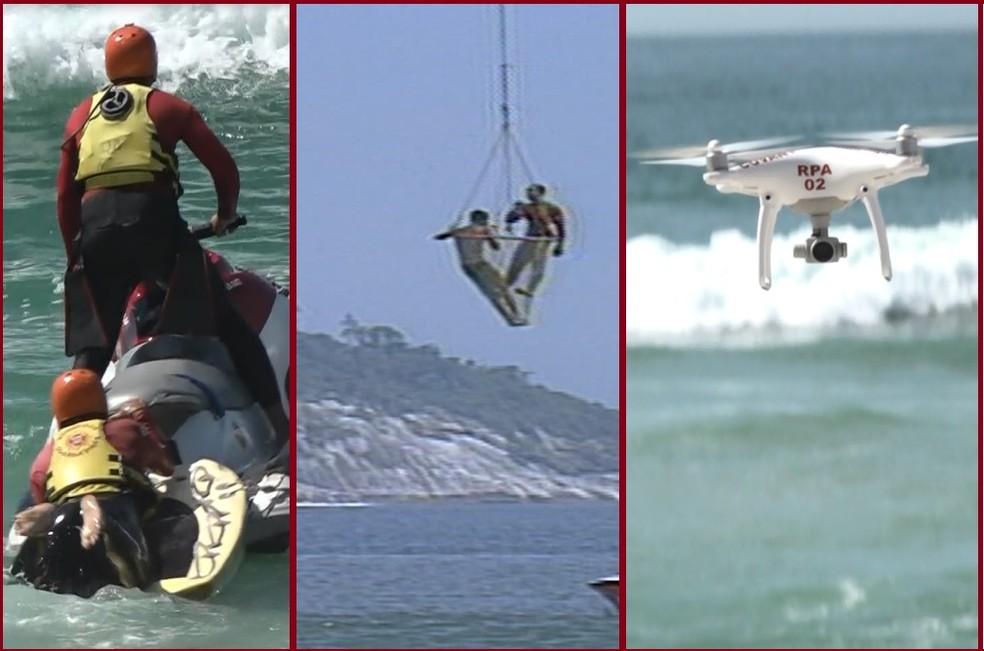 Motos Aquáticas, Helicópteros e drones são utilizados nos resgates (Foto: Reprodução / Tv Globo)