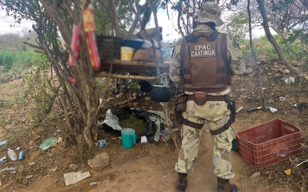 Comidas e roupas foram encontrados em acampamento pela polícia na Bahia — Foto: Divulgação/SSP-BA