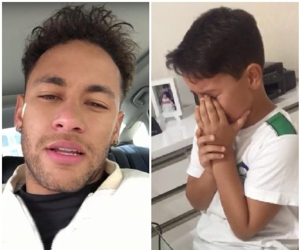 Neymar presta homenagem a Matheus, que perdeu o pai no início do mês (Foto: Reprodução)