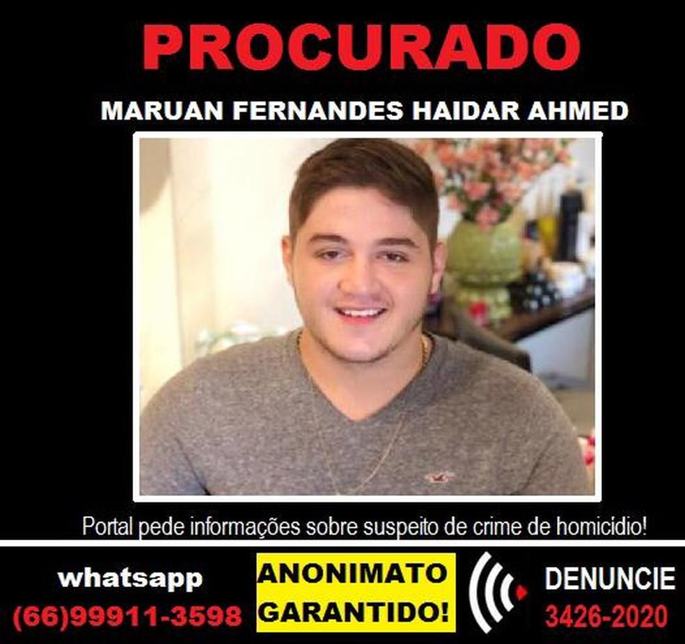 Maroan Fernandes Haidar Ahmed é procurado acusado de matar cliente de conveniência em Rondonópolis — Foto: Polícia Civil de Mato Grosso/Divulgação