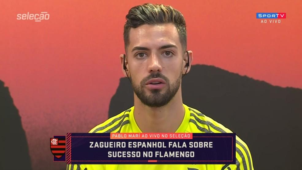 Pablo Marí, zagueiro do Flamengo, fala com o Seleção SporTV — Foto: Reprodução