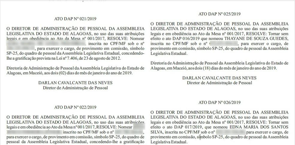 Cancelamento das nomeações foram publicadas no diário da ALE desta sexta (18) — Foto: Reprodução