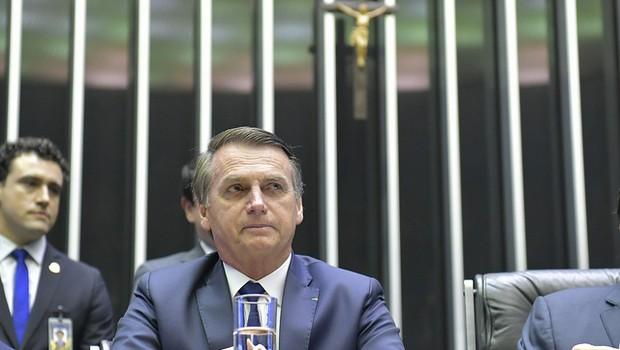 O presidente Jair Bolsonaro durante cerimônia de posse, no Congresso Nacional (Foto: Marcos Brandão/Senado Federal)
