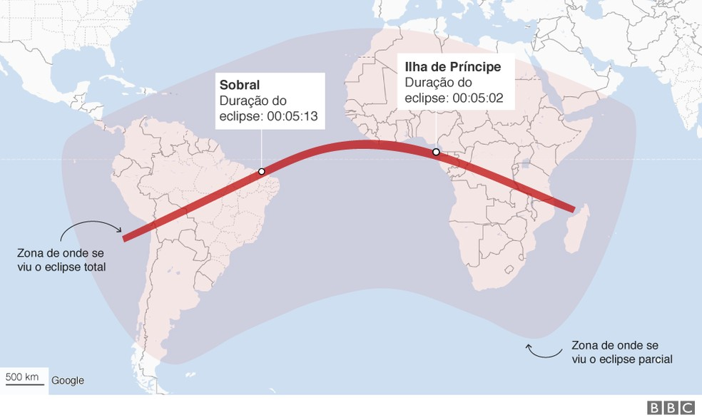 Mapa mostra a aparição do eclipse — Foto: BBC