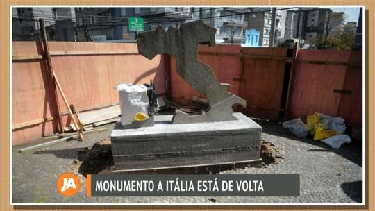 Monumento à Itália é reinstalado na praça João Pessoa, em Caxias do Sul