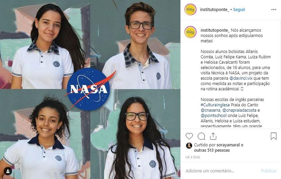 Quatro bolsistas pelo Instituto Ponte foram selecionados para ir à Nasa — Foto: Reprodução/ Instagram