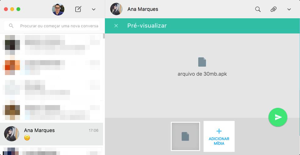 WhatsApp passou a aceitar arquivos até em formato APK (Foto: Reprodução/Thássius Veloso)