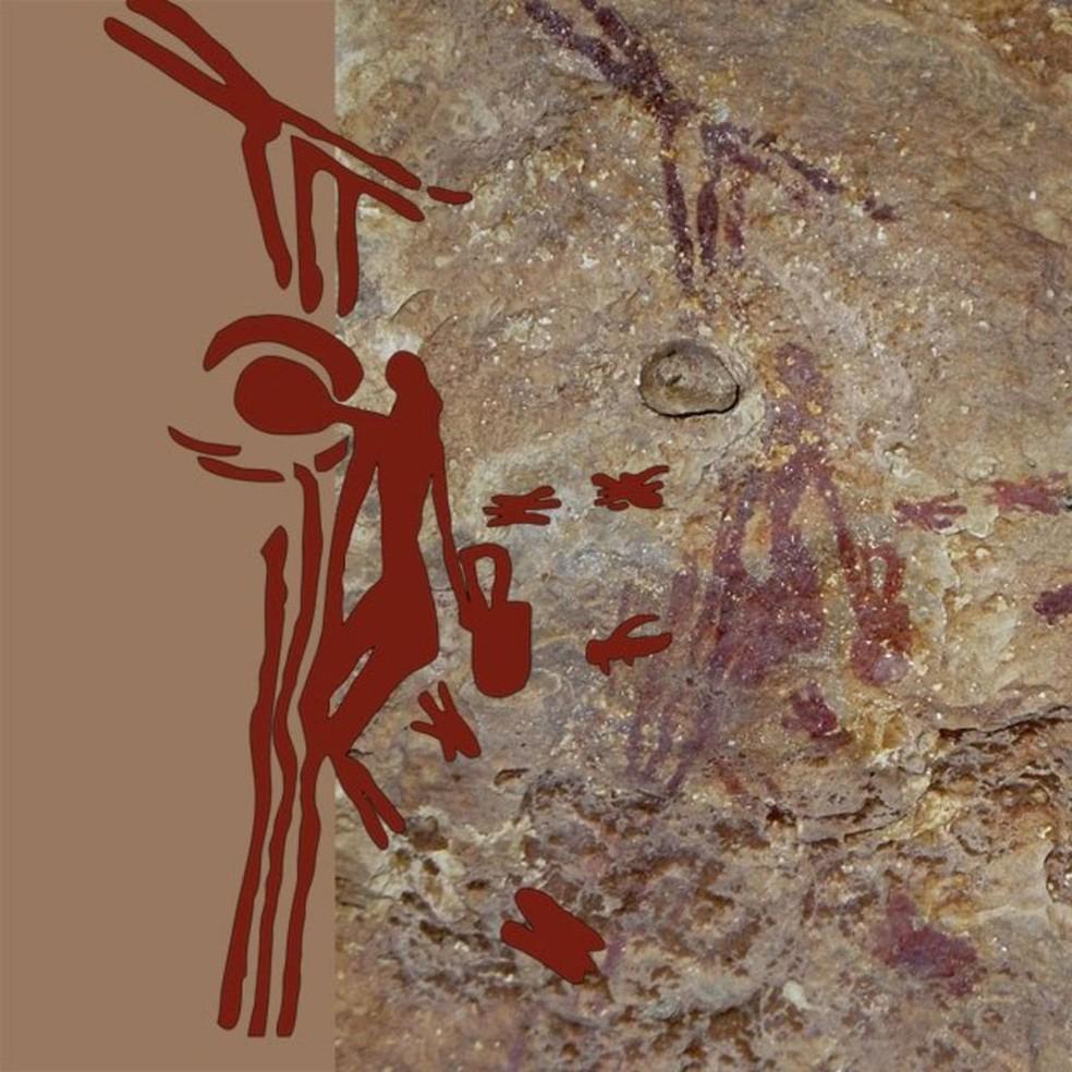 Desenho antigo mostra um homem pendurado em um cipó e alcançando uma colmeia para coletar mel de abelhas selvagens (Foto: BBC)