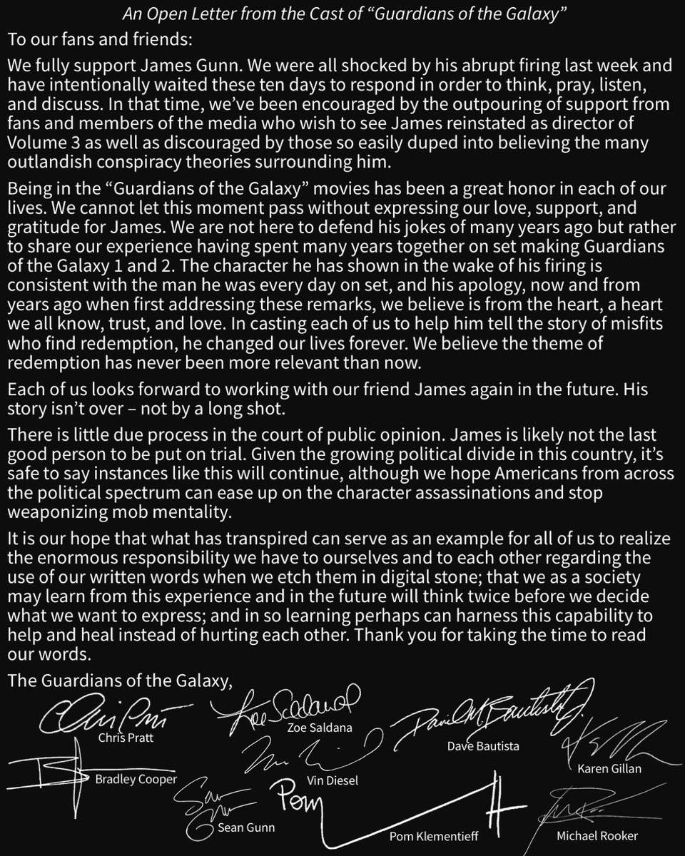 Abaixo-assinado feito pelos astros de Guardiões da Galáxia (Foto: Reprodução twitter)