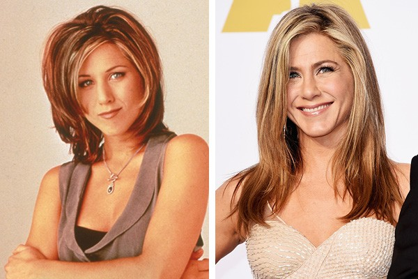 Jennifer Aniston em 1996 e em 2015 (Foto: Getty Images)