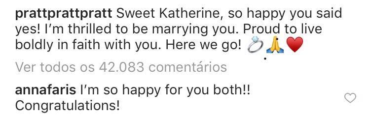 Os parabéns da atriz Anna Faris ao recém-anunciado noivado de seu ex-marido, o ator Chris Pratt, com a filha de Arnold Schwarzenegger (Foto: Instagram)