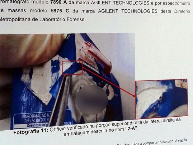 Achocolatado foi envenenado com pesticida, diz polícia (Foto: André Souza/G1) (Foto: André Souza/G1)