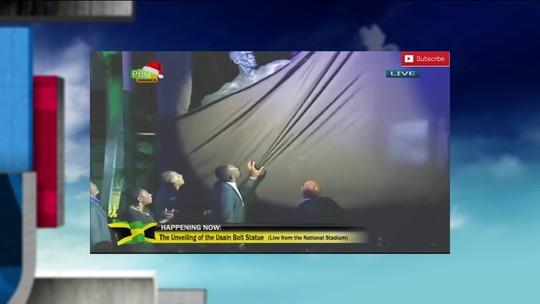 Gafe marca inauguração da estátua de Bolt no Estádio Nacional da Jamaica