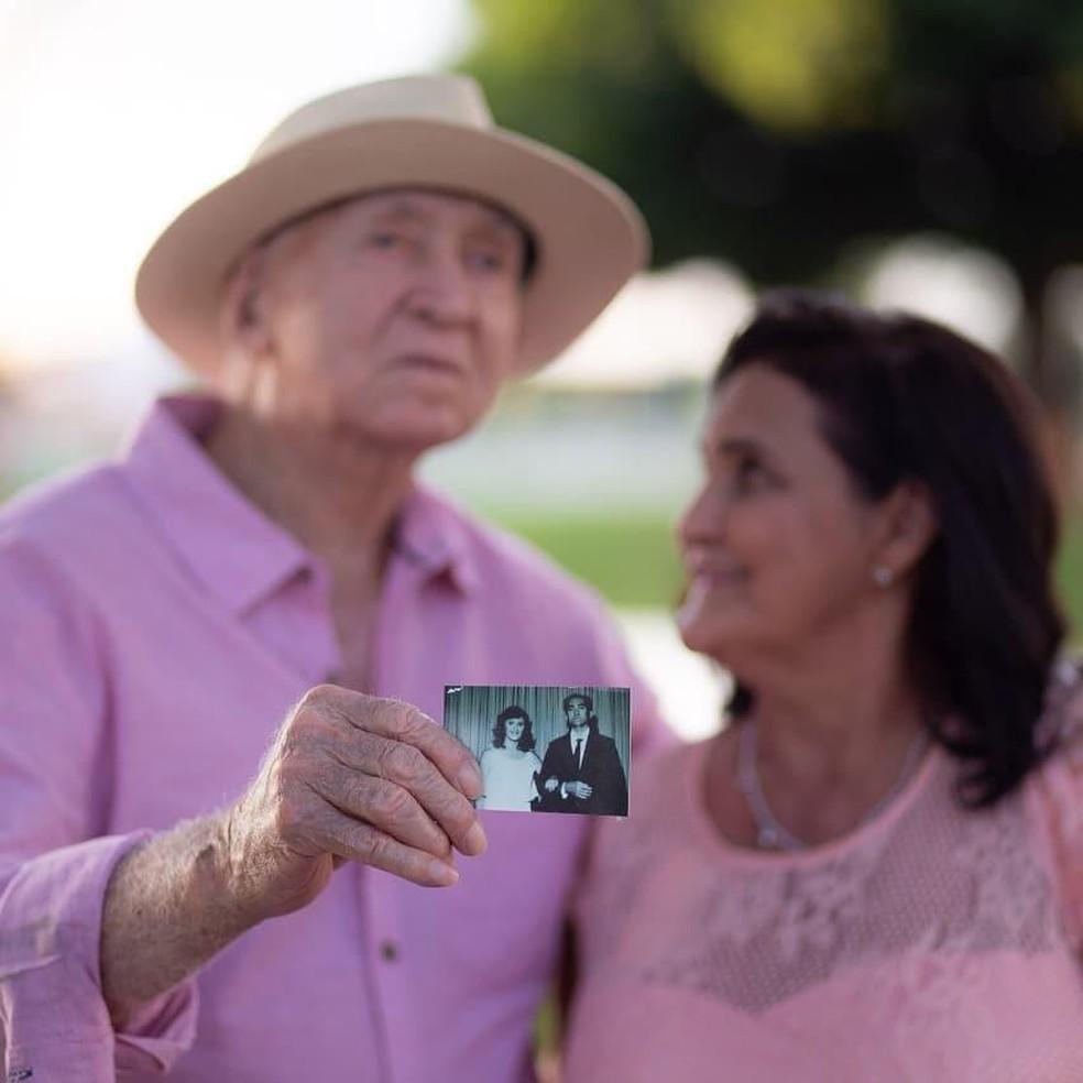 Aos 94 anos, homem realiza sonho da esposa de casar na igreja após quatro décadas juntos — Foto: Arquivo Pessoal