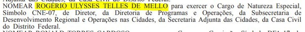 Nomeação de Rogério Ulysses no Diário Oficial do DF — Foto: DODF/Reprodução
