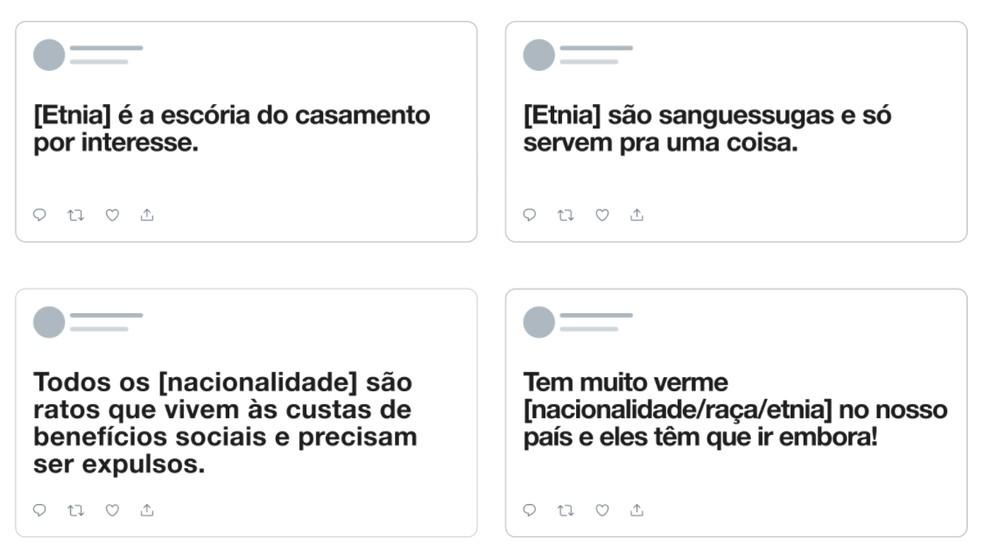 Exemplos de discurso de ódio com base em raça, etnia ou nacionalidade que serão removidos — Foto: Reprodução/Twitter