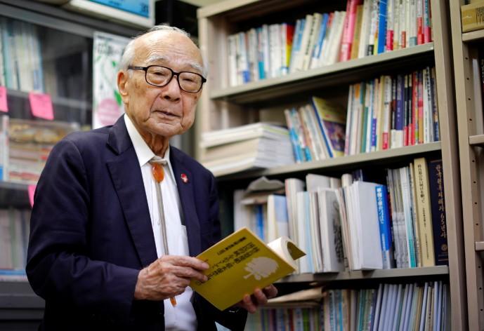 O sobrevivente Terumi Tanaka tinha 13 anos quando sobreviveu à bomba de Nagasaki