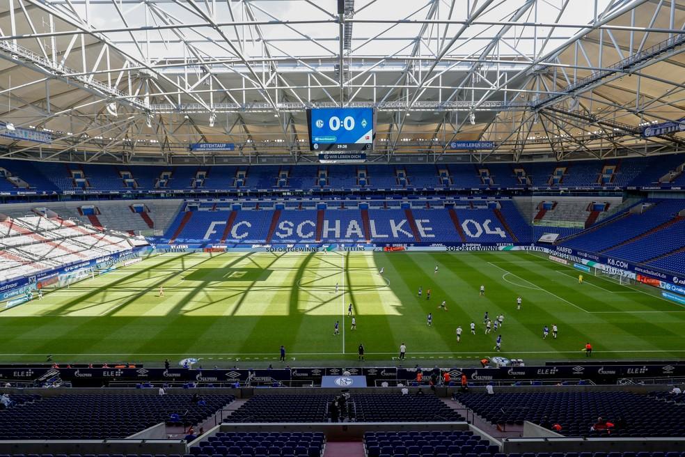 Estádio do Schalke 04, em Gelsenkirchen, deve ser uma das sedes da Liga Europa — Foto: Getty Images