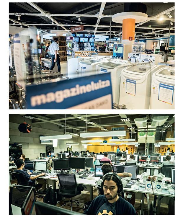 Empresa;Consumo;Magazine Luiza;uma loja tradicional do Magazine Luiza, na Zona Norte de São Paulo;Luizalabs, o centro de pesquisas que cria inovações para as vendas online (Foto: Luiz Maximiano; reprodução)