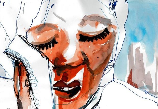 Após casamento forçado, Noura diz ter se defendido da violência sexual com uma faca.  (Foto: Ilustração de Katie Horwich/BBC News)