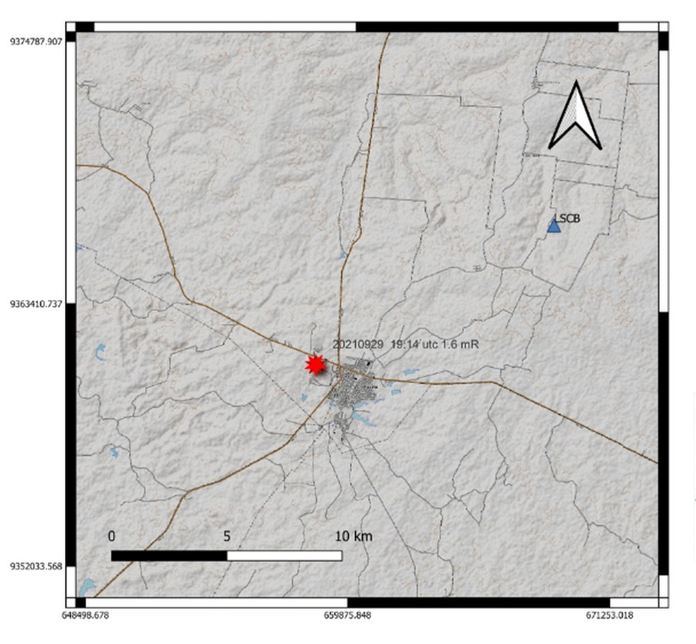 Tremor de terra foi registrado em Caraúbas, no Oeste potiguar — Foto: Labsis/UFRN