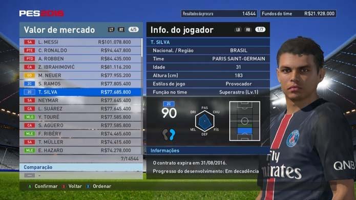 Thiago Silva. Brasileiro é destaque de PES 2016 (Foto  Reprodução Murilo  Molina) 012d177c14d38