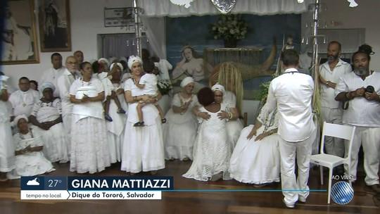 Terreiro do Gantois comemora noite da 'Alvorada dos Ojás' em Salvador