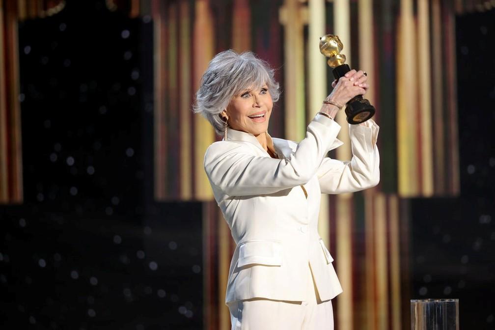 Jane Fonda é homenageada no Globo de Ouro 2021 — Foto: Rich Polk/NBC Handout via Reuters
