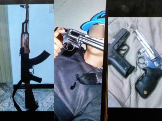 Imagens postadas nas redes sociais chamaram atenção da investigação (Foto: Montagem sobre fotos /  Polícia Civil)