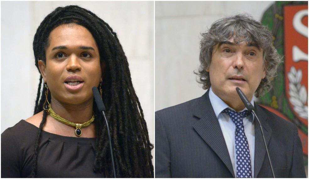 Montagem de fotos com a deputada estadual Erica Malunguinho (PSOL) e o deputado Carlos Giannazi (PSOL). — Foto: Divulgação/Alesp