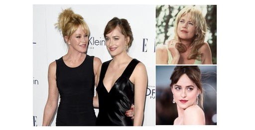 Melanie Griffith e a filha, Dakota Johnson; Melanie Griffith na juventude; Dakota Johnson