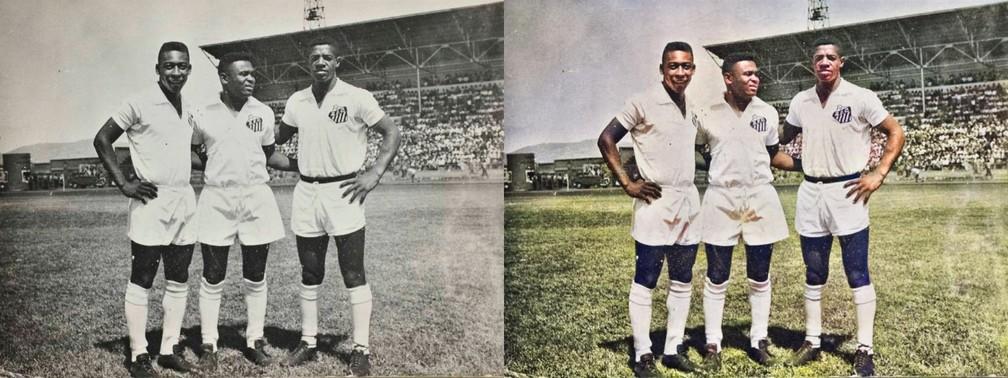 Aqui, Pelé, Coutinho e Dorval — Foto: Reprodução