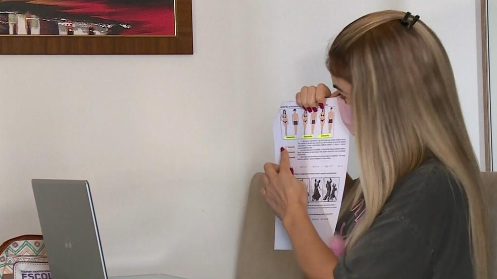 Professora faz aula pela internet depois de doação para estudante, no ES  — Foto: Reprodução/ TV Gazeta