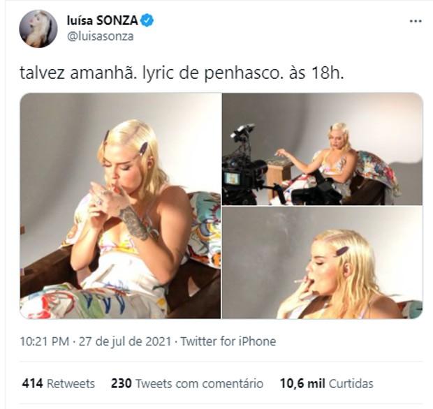Luísa Sonza é alvo de críticas ao aparecer fumando em lyric video (Foto: Reprodução/Instagram)