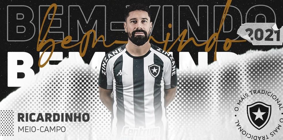 Ricardinho, novo reforço do Botafogo — Foto: Divulgação