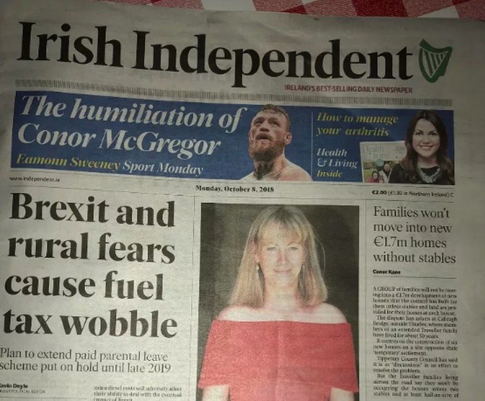 Capa do jornal Irish Independent nesta segunda-feira — Foto: Reprodução/MMA Fighting