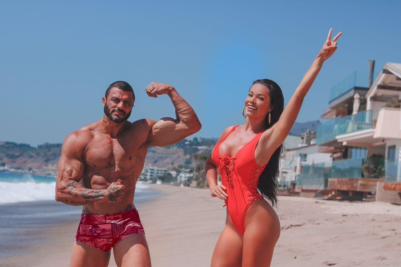 Fernanda D'avila e Kleber Bambam na Califórnia (Foto: Divulgação)