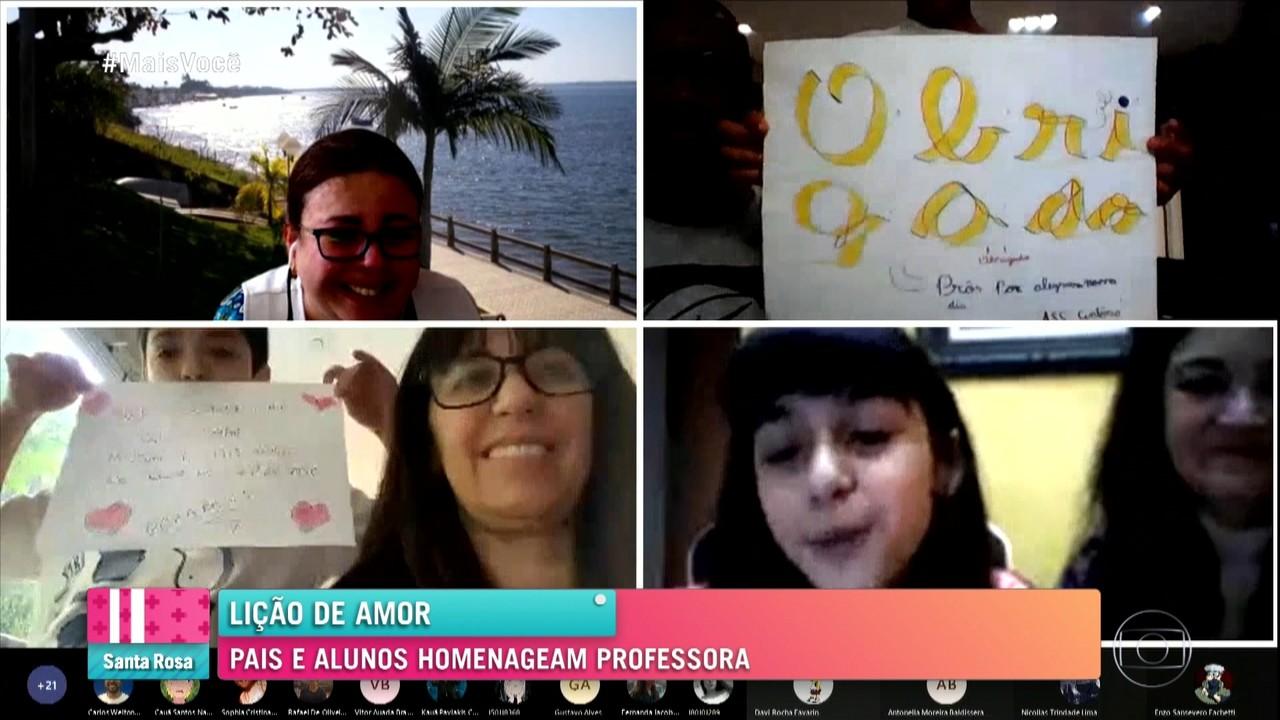 Professora é surpreendida com agradecimentos de pais e alunos, e emociona Ana Maria
