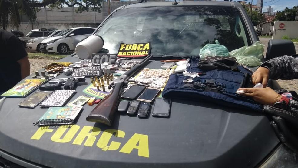 Armas e drogas foram apreendidas em Vera Cruz, cidade da Grande Natal (Foto: Ediana Miralha/Inter TV Cabugi)