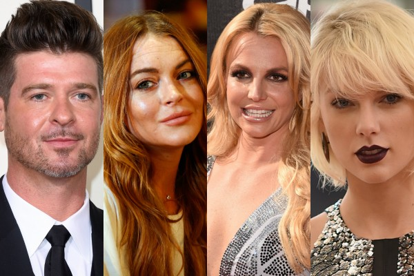 Robin Thicke, Lindsay Lohan, Britney Spears e Taylor Swift  (Foto: Getty Images)